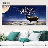 Ciervos del Bosque nórdico Pintura al óleo póster de Arte habitación de los niños Fauna Animal decoración del hogar,Pintura sin Marco,60X120cm