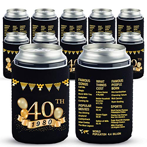 Yangmics 40th Birthday Can Cooler Sleeves Pack of 12-1980 Sign - 40th Birthday Party Supplies - 40th Anniversary Decorations - Black and Gold Fortieth Birthday Cup Coolers