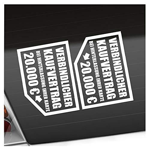 Kiwistar Verbindlicher Kaufvertrag 20.000 € 12,5 x 10 cm IN 15 Farben - Neon + Chrom! Sticker Aufkleber