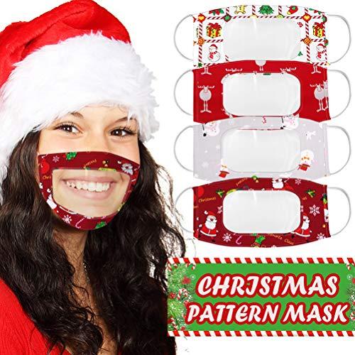 FEIDAjdzf - Juego de 4 mscaras navideas con expresin de ventana transparente, apto para personas sordas y con discapacidad auditiva.