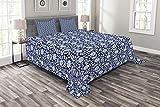 ABAKUHAUS Blumen Tagesdecke Set, Chinesisches Porzellan-Motiv, Set mit Kissenbezügen Sommerdecke, für Doppelbetten 264 x 220 cm, Kobaltblau Nachtblau & Weiß