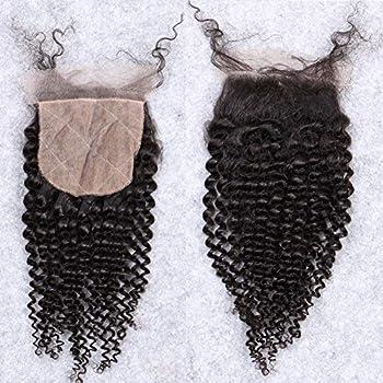 Afro Kinky Curly Silk Closure 4 x4  Silk Base Lace Human Hair Top Full Closure Piece Hidden Knots Free Part Brazilian Remy Hair 8 inch Natural Black