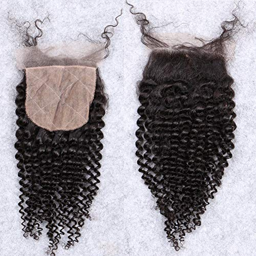 Afro Kinky Curly Silk Closure 4'x4' Silk Base Lace Human Hair Top Full Closure Piece Hidden Knots Free Part Brazilian Remy Hair 18'inch Natural Black