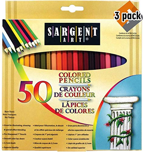 Sargent Art Premium Coloring Pencils, Pack of 50 Assorted Colors, 22-7251 - 3 Pack