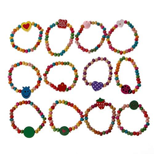zgs78hh 12Pcs Colourful Wooden Bracelets,Little Girls Bracelets Kit Kids Fashion Jewelry