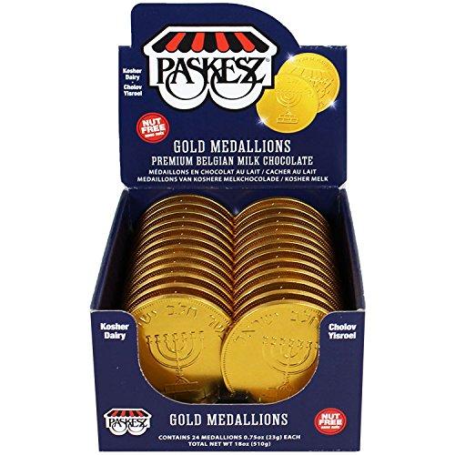 Hanukkah Gelt DAIRY Gold Medallion Coin/Nut Free - PRICED PER PIECE