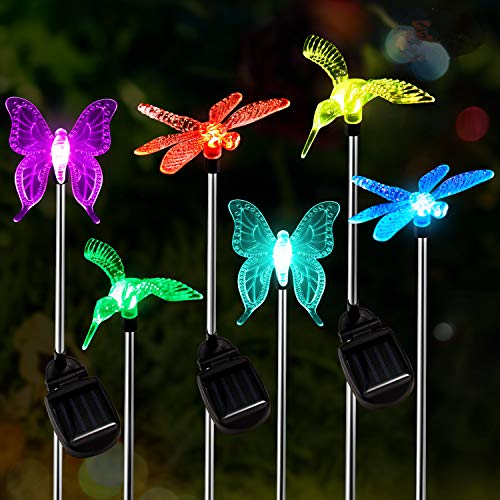 Solar Garden Lights Outdoor, 6-pack OxyLED Figurine Stake Light, Color Changing Decorative Landscape Light LED Solar Powered Hummingbird Butterfly Dragonfly for Patio Yard Pathway Halloween Christmas