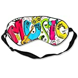 100% Silk Sleep Mask Eye Mask Comic Music Design Soft Eyeshade Blindfold with Adjustable Strap for Sleeping Travel Work Naps Blocks Light