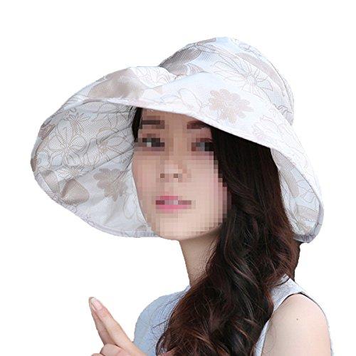 NIAISI Mesdames été Impriméà Large Brim Mode Pliable Chapeau Sun Beach Pour Les Femmes,White-M