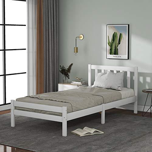 Cama individual de madera maciza de 91 cm, estructura de madera de pino natural con cabecero, muebles de dormitorio cama de día para adultos, niños, adolescentes