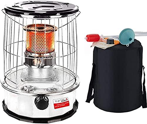 LLRZ Termoventilador Calentador de Estufa de keroseno 6L,Quemador de Vidrio de Acero Inoxidable portátil de Acero Inoxidable for Patio al Aire Libre Camping Interior Vertical Calefactor