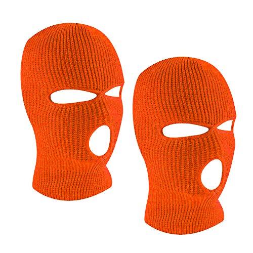 SUNTRADE 3-Loch Skimaske Gesichtsmaske Sturmhaube für Damen und Herren, 2er-Set Gr. Einheitsgröße (Orange x 2)