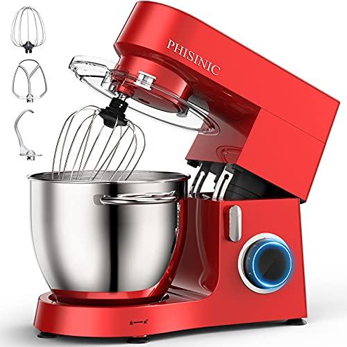 PHISINIC Batidora Amasadora de Pan, Amasadora Reposteria 1800W 6.5L Robot Amasador Cocina, Silencioso Potente y Profesional, 6 Velocidades con Pulso, Bol de Acero Inoxidable, Cuerpo Metálico, Rojo