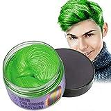 Mofajang Hair Wax Dye Styling Cream Mud, Natural Hairstyle Color Pomade, Washable Temporary, Green