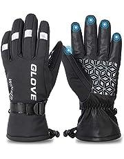 WESTGIRL winterhandschoenen, winddicht, waterdicht, thermisch touchscreen-handschoenen voor heren, koud weer, volledige vinger, warme outdoorhandschoenen voor hardlopen, fietsen, skiën, klimmen - zwart