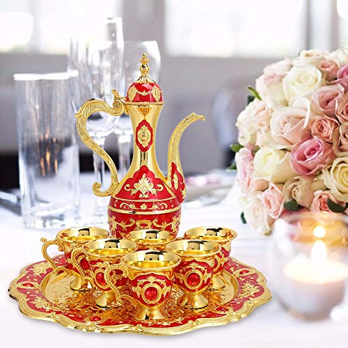 Copas de beber de vino de metal firme Frasco de cadera Conjunto Decoración de mesa Cocina(red) ⭐