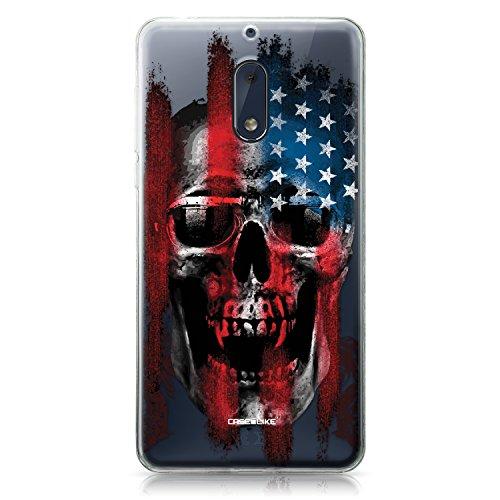 CASEiLIKE Custodia Nokia 6 Cover, Arte del Cranio 2532 Disegno Ultra Sottile Paraurti TPU Caso Silicone per Nokia 6