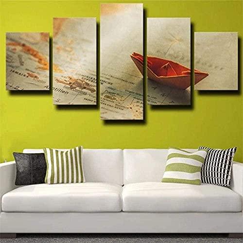 Impresiones en lienzo, arte abstracto, 5 lienzo, arte de pared, mapa de barco, origami, barco de papel naranja, pintura, imagen, póster de impresión en HD, 150X80
