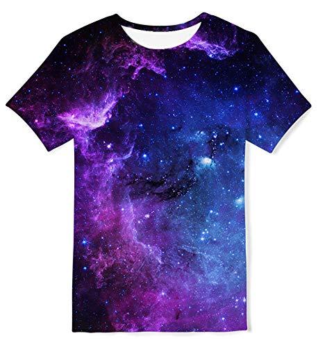 Kids4ever 3D Galaxis T-Shirt Kinder Coole Universum Muster Kurzarm Rundhals Tee Shirts Jugendliche Jungen Mädchen Beiläufig Mode Hemden,Galaxy 3,13-14 Jahre (Tag L)