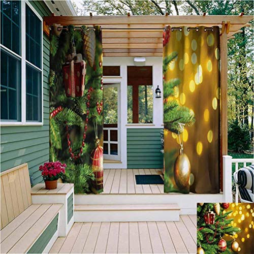Christmas Outdoor Drapes for Patio Close Up Decorated Christmas Tree Branches on Blurred Fairy Backdrop Picture Reduce Light W54 x L63 Inch Gold Green Red
