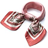 QBSM Womens Pink Flower Pattern Large Square Satin Silk Neckerchief Neck Head Hair Scarf Wraps for Sleeping Scarfs for Black Women Valentine's Day Gifts for Women