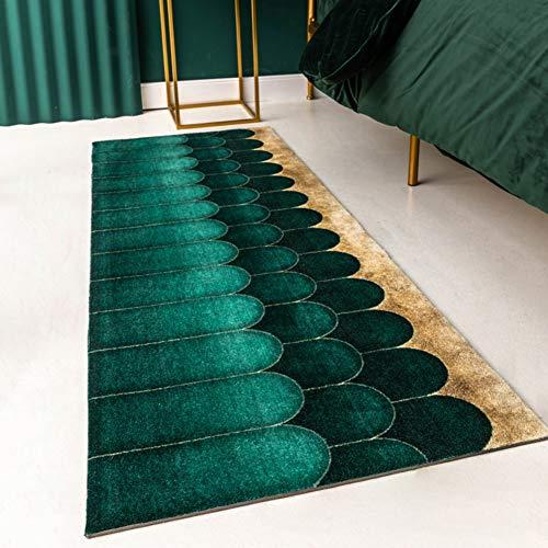 Elegante Geometrische Woonkamer Tapijt Niet slip Eenvoudige Tapijt Runner Voor Thee Tafel Slaapkamer Beddek, moderne Rechthoekige Ruimte Tapijt Donker Groen 60x160cm (24x63inch)