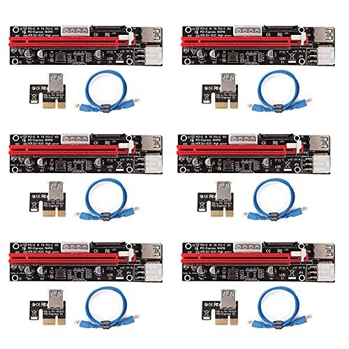 Ziyituod Paquete de 6 últimos Kits PCI-E Riser Express 16X a 1X (6pin / MOLEX/SATA) con extensión de gráficos LED Tarjeta Vertical Gpu con tecnología de minería Ethereum Eth,Cable USB 3.0 60 cm.