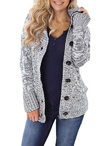 Sidefeel Women Hooded Knit Cardigans Button Cable Sweater Coat Large Grey