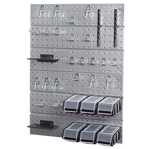 Panel perforado para herramientas de metal con juego de ganchos + 6...