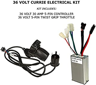 Currie 36 Volt Throttle & Controller - High Performance 36 Volt 30 Amp Control Module and Twist Throttle with 5 Pin Connector for Schwinn Stealth S1000, Ezip E1000 Scooter - Easy Installation