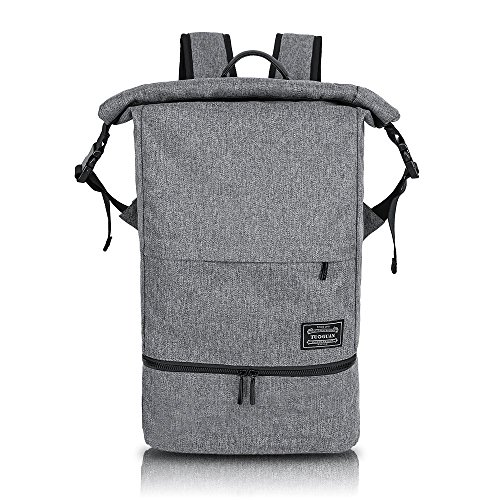 MIRAMAR Rucksack Wasserdichte Sporttasche Roll Top Nasse und Trockene Trennung Training Bag Multifunktional Daypack Outdoor für 15.6 Zoll Laptop und Schuhe für Damen und Herren (Grau)