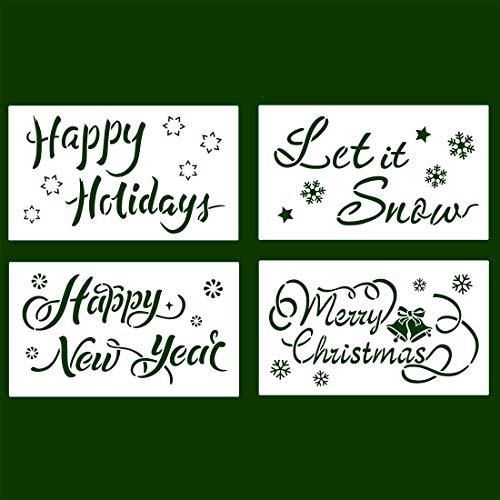 Weihnachtsschablonen Wiederverwendbarer Kunststoff Basteln Kunst Zeichnen Malen Sprühen Fenster Glastür Auto Holz Tagebuch Scrapbook Urlaub Weihnachten Schneeflocke DIY Dekoration