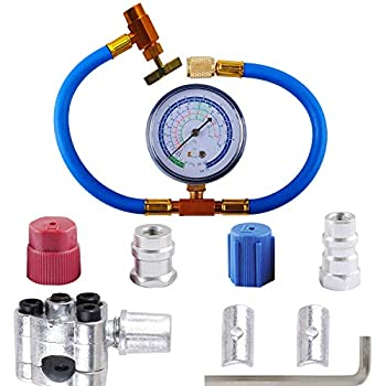 R134a Charging Hose to Refrigerator - with Gauge - R-134a can to R-12/R-22 Port Include R12 to R134a Conversion Kit for A/C Pro Refrigerant & BPV31 Piercing Valve