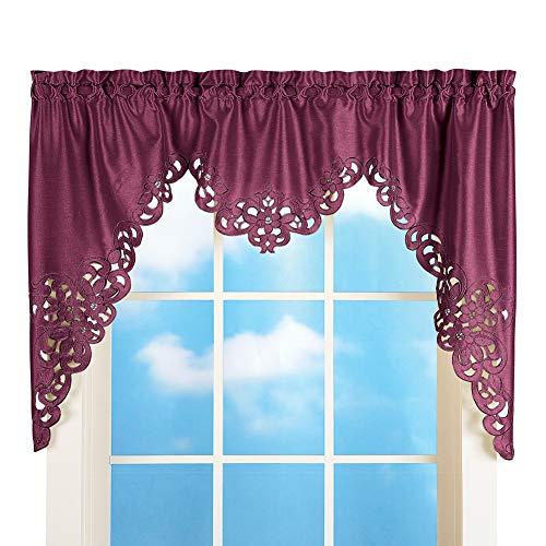 "Collections Etc Elegant Scroll Window Valance Burgundy 58"" X 36"", Burgundy, 58"" X 36"""