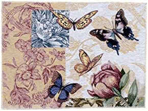 CC Home Furnishings Pack of 2 Floral Butterfly Decorative Tapestry Placemats 12 x 18