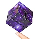 KEEYMENT Infinity Cube Fidget Toy for Kids and Adults Stress Relief Infinity Game, Cool Mini Galaxy Figetget Toys for Anxiety Relief and Kill Time (Galaxy Purple)