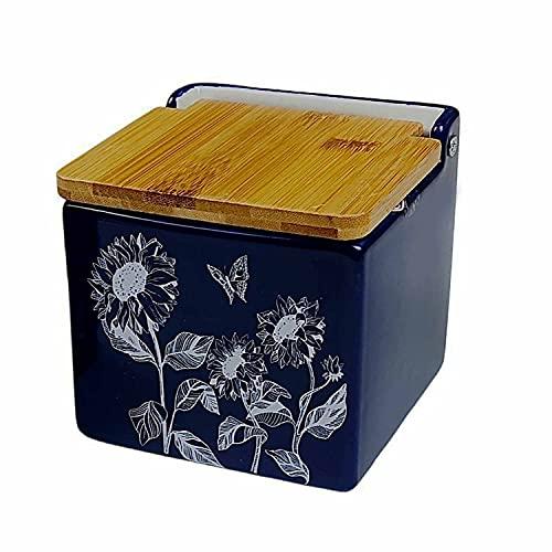 Salero de cocina con tapa de Bambú. Salero y azucarero de cocina decorado. Azucarero y Salero de diseño (Azul, Salero)Capacidad de 700 ml. Especiero, Salero o Azucarero de mesa