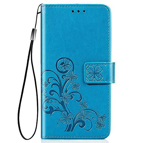 TOPOFU Handyhülle für LG K40S Hülle, Superdünne Premium Leder Tasche Hülle Flip Wallet Schutzhülle mit Ständer & Kartenfach für LG K40S (Blau)