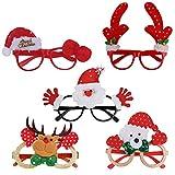 QH-Shop Occhiali da Vista di Natale Foto Prop Occhiali Glitter per Feste Natale Decorazioni per Feste di Natale per Bambini e Adulti