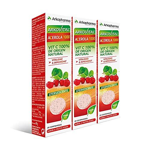 Arkopharma Arkovital Acerola 1000 Efervescente Tripack 60 Comprimidos, Vitalidad, Inmunidad, Vitaminas Naturales de Mayor Absorción, Vitamina C 100% Natural