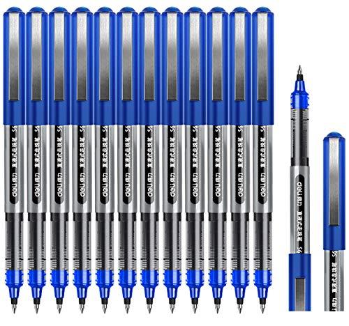 Tintenroller Stifte blau, Surcotto 0,5mm Gelschreiber, glatter Kugelschreiber, schnelltrocknend, flüssige Tinte, dokumentenecht, geeignet für Rechts- und Linkshänder, Schreibset – 12 Stück