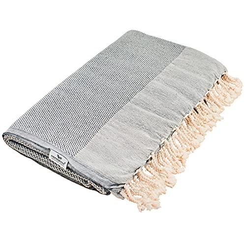 Carenesse Copriletto Queen Size FAVO lavorato a maglia, nero, 240 x 200 cm, 100{22cb4f85a2ea72688025d8692e65018787797692f97fe341318c7c520410d70b} cotone, leggero e sottile su entrambi i lati, bella coperta con frange corte, per letto, divano, tovaglia decorativa