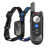 Dog Training Collar, Shock Collar for Dogs with Remote, Waterproof and Rechargeable Electric Dog Shock Collar, 4 Modes Beep Vibration Shock and Playback Bark Collar for Small, Medium, Large Dogs