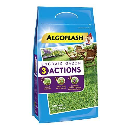 ALGOFLASH Engrais Gazon 3 Actions, Jusqu'à 250 m², 10 kg, ETRIA250