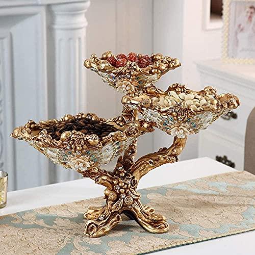 Escultura,Plato De Frutas Hogar De Lujo con Incrustaciones De Diamantes De Imitación Sala De Estar Mesa De Centro Decoración Plato De Dulces Creativo Plato De Frutas