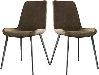 ZCXBHD Sillas Comedor Conjunto de 2 Clásico Sillas Cocina Salón Ocio Sala Sillas Esquina con Patas de Metal Asiento y respaldos Cuero PU (Color : Brown)