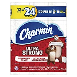 Charmin Ultra Strong Toilet Paper, Bath Tissue, Double Roll, 12 Count