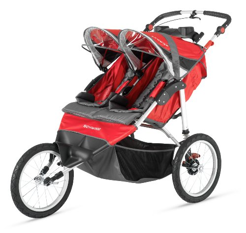 Schwinn Arrow Double Stroller, Red/Black