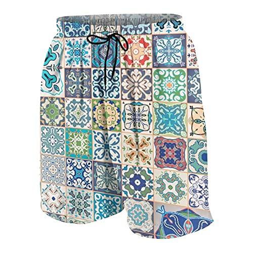 Popsastaresa Herren Beiläufig Boardshorts,Floral Patchwork Design mit Arabesque Figur mediterrane symbolische Handwerkerarbeit,Schnelltrocknend Badehose Strandkleidung Sportbekleidung mit Mesh-Futter