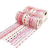 Feelairy Washi Tape Set di nastri adesivi decorativi per scrapbooking, Bullet Journal, agende, confezione regalo, 10 rotoli di carta da regalo con motivo a cuore bronzato